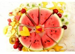 880231,食物,水果,水果,西瓜,香蕉,心形的,芒果,壁纸