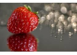 779223,食物,草莓,水果,浆果,水果,反射,Bokeh,壁纸