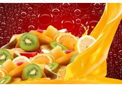 817556,食物,水果,水果,猕猴桃,橙色的,气泡,壁纸