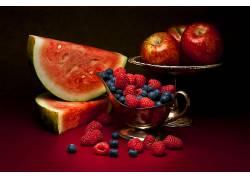 817574,食物,水果,水果,仍然,生活,苹果,西瓜,覆盆子,蓝莓,壁纸