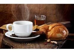 893420,食物,早餐,杯子,牛角面包,仍然,生活,壁纸