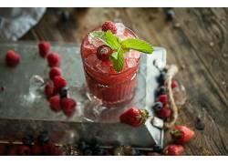 877834,食物,喝酒,玻璃,仍然,生活,水果,浆果,草莓,蓝莓,壁纸