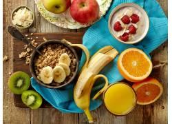 887019,食物,早餐,仍然,生活,水果,果汁,香蕉,Muesli,猕猴桃,橙色