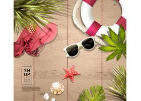 夏季木板防晒用品海报