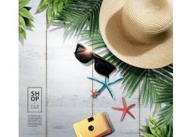 夏季沙滩防晒护肤海报背景