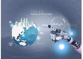 机械手与星球建筑科技海报