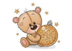 抱圣诞球的卡通熊