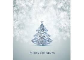 手绘抽象圣诞节圣诞树背景设计