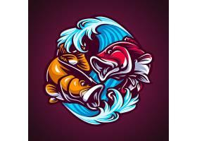 海浪鲤鱼logo设计