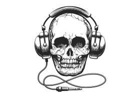 带耳机的骷髅