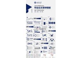 深蓝色图案北京大学毕业论文答辨ppt模板