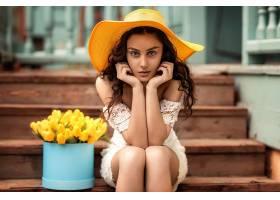 1055389,女人,模特,妇女,女孩,帽子,深度,关于,领域,黑发女人,壁