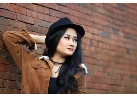 1045282,女人,模特,妇女,女孩,亚洲的,口红,帽子,黑色,头发,壁纸