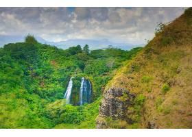 814107,地球,瀑布,瀑布,森林,绿色的,山,夏威夷,Kauai,瀑布,壁纸