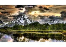 278858,地球,反射,山,湖,树,雪,水,风景优美的,自然,风景,壁纸