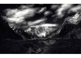 792859,地球,山,山脉,自然,山峰,风景,黑色,白色,云,壁纸