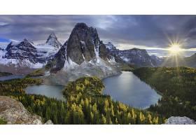 255254,地球,风景,山,湖,森林,绿色的,阳光,增加,阿西尼玻河,壁纸