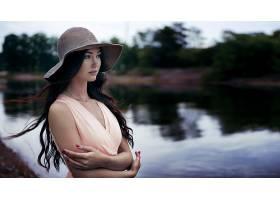845778,女人,模特,妇女,女孩,黑发女人,帽子,深度,关于,领域,壁纸