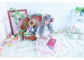 849296,女人,亚洲的,女孩,书,眼镜,设计,花,花冠,灰色,头发,壁纸