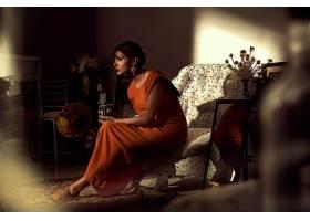 853632,女人,模特,妇女,过时的,黑发女人,照相机,口红,镜子,橙色
