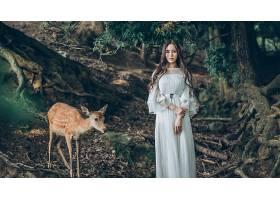 1056962,女人,亚洲的,妇女,模特,女孩,白色,穿衣,鹿,长的,头发,黑
