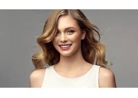 1047691,女人,模特,女孩,白皙的,妇女,口红,蓝色,眼睛,微笑,壁纸