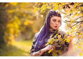1050251,女人,模特,妇女,女孩,深度,关于,领域,辫子,紫色,头发,壁
