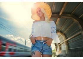 1059886,女人,模特,妇女,女孩,短裤,白皙的,帽子,深度,关于,领域,
