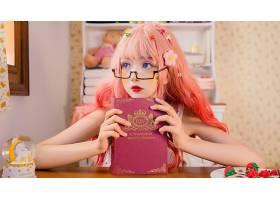 1054815,女人,模特,女孩,粉红色,头发,书,壁纸