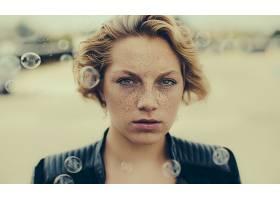 599443,女人,脸,妇女,模特,气泡,雀斑,白皙的,绿色的,眼睛,壁纸