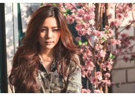 599492,女人,Kookai,模特,泰国,女孩,模特,亚洲的,头发,花,卡其布