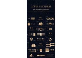 金色商务人事新年计划ppt模板