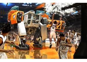 运动,艺术的,CGI,数字的,艺术,3D,摘要,篮球,机甲,机器人,幽默,有