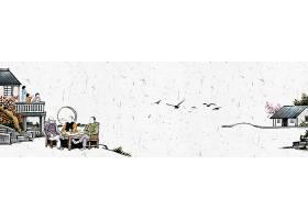 乡村房屋人物中国风横幅背景