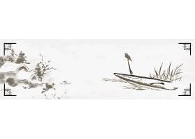 小船小鸟花朵中国风横幅背景