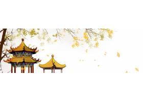 中式亭子大树中国风横幅背景