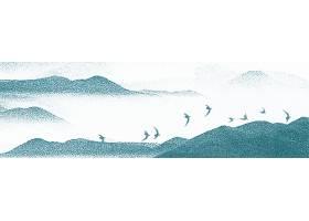一群飞鸟大山中国风横幅背景