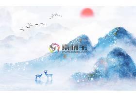 中国风水墨山水花鸟背景墙
