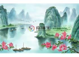 中国风彩墨山水花鸟背景墙