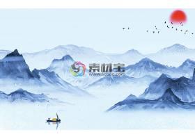 江南山水彩墨风背景墙