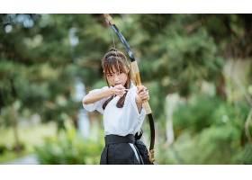 运动,箭术,深度,关于,领域,妇女,女孩,亚洲的,弓,黑发女人,壁纸