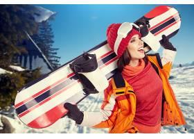 运动,单板滑雪,女孩,妇女,微笑,帽子,冬天的,壁纸