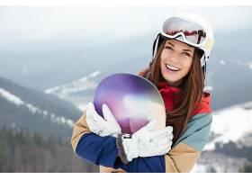 运动,单板滑雪,妇女,女孩,微笑,深度,关于,领域,头盔,黑发女人,壁