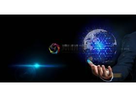男人与星球科技背景模板
