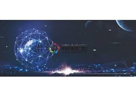 点线图案与星光科技背景模板