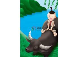 春天可爱小男孩与水牛背景素材图片