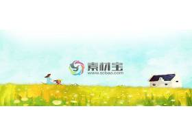 春天乡村人物花卉背景素材图片