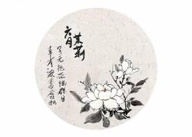 中国风浓墨茉莉花卉插画