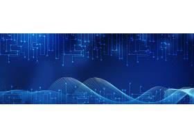 蓝色科技点线图案与曲线背景展板Banner