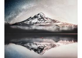 池塘与雪山美景